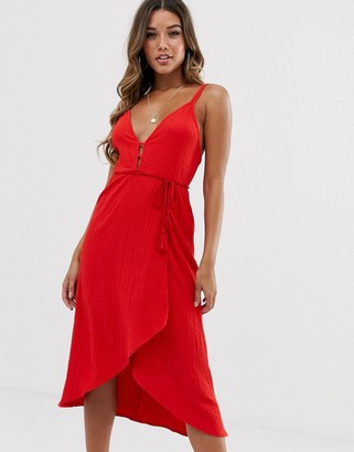 Asos Design DESIGN midi wrap sundress with tassel belt-Red