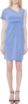 Caran d'Ache Carven Cornflower Blue Crepe Ruched Asymmetric Sleeve Shift Dress M