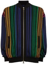 Balmain Stripe Knit Bomber Cardigan