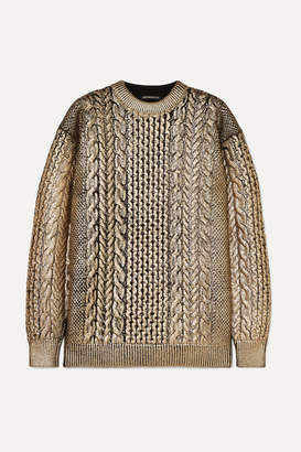 Ann Demeulemeester Metallic Cable-knit Wool Sweater - Gold