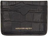 Alexander McQueen Black Croc-embossed Card Holder