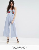 Glamorous Tall Bandeau Culotte Jumpsuit With Embroidery Detail