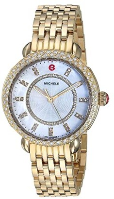 Michele Sidney Classic White Mother-of-Pearl with Diamonds, Gold (Gold) Watches