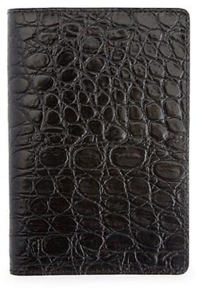 ROYCE New York Croc-Embossed Leather Passport Case