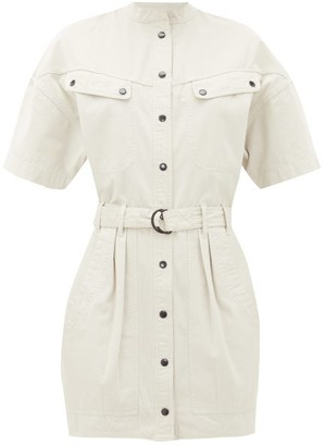 Etoile Isabel Marant Zolina Belted Cotton Shirt Dress - Womens - Ivory