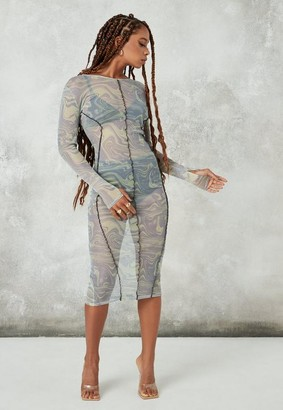 Missguided Mesh Printed Midaxi Dress