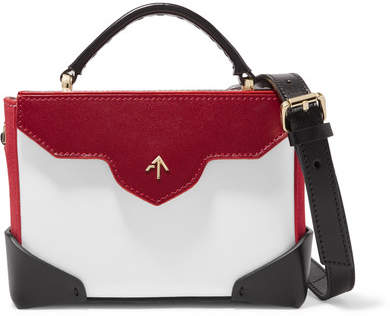 Atelier MANU Bold Micro Color-block Leather And Suede Shoulder Bag - White