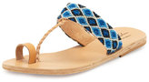 Elina Lebessi Dimitra Woven T-Strap Sandal, Blue/White