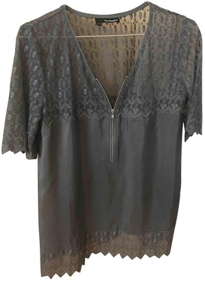 The Kooples Anthracite Silk Top for Women