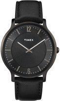 Timex Men's Skyline Slim Black Leather Strap Watch