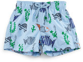Vilebrequin Jim Embroidered Moonfish Swim Trunks, Blue, Boys' 2-8