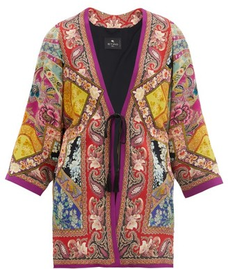 Etro Cord-waist Paisley-print Georgette Jacket - Pink Multi