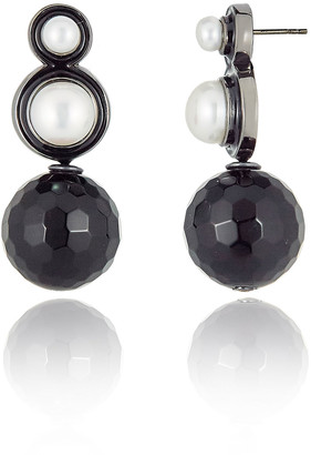 MCL by Matthew Campbell Laurenza Double Pearl & Onyx Drop Earrings