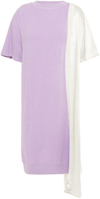 Clu Satin-paneled French Terry Dress