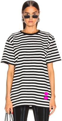 Off-White EXCLUSIVE Striped Tee in Black | FWRD