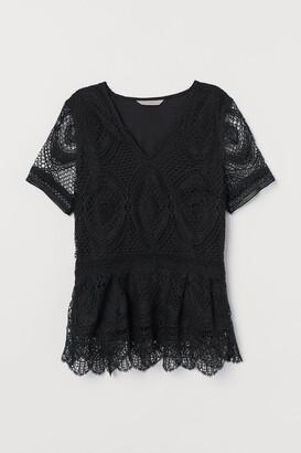 H&M V-neck Lace Top - Black