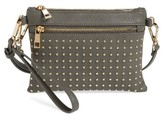 Sole Society Anita Studded Faux Leather Crossbody Bag - Black