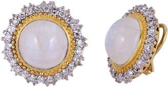 Farah Tanya 18K Modern Etruscan Moonstone Diamond Sunburst Earrings
