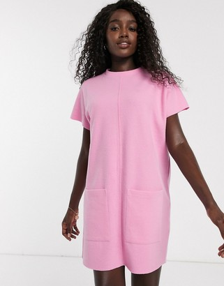 ASOS DESIGN super soft exposed seam t-shirt dress in pink