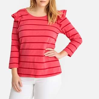 La Redoute Collections Plus Striped Cotton Crew Neck T-Shirt with Shoulder Ruffles