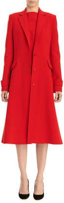 Carolina Herrera A-Line Button-Front Coat w/ Notched Lapels