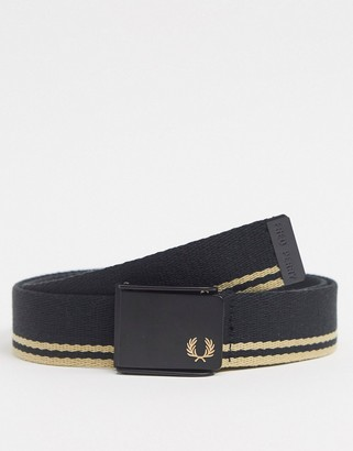 Fred Perry tipped webbing belt in black