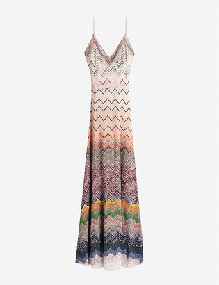Missoni Wave-pattern embellished-trim knitted maxi dress