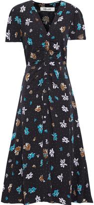 Diane von Furstenberg Cecilia Ruched Floral-print Crepe Midi Dress