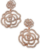 Kate Spade 14k Rose Gold-Plated Pavé Rose Drop Earrings