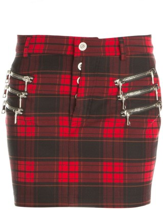 Unravel Project Plaid Zip Mini Skirt