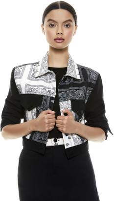 Alice + Olivia Bandana Patchwork Cropped Jacket