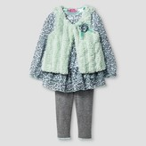 Young Hearts Toddler Girls' Faux Fur Vest, Top & Legging - Mint Green