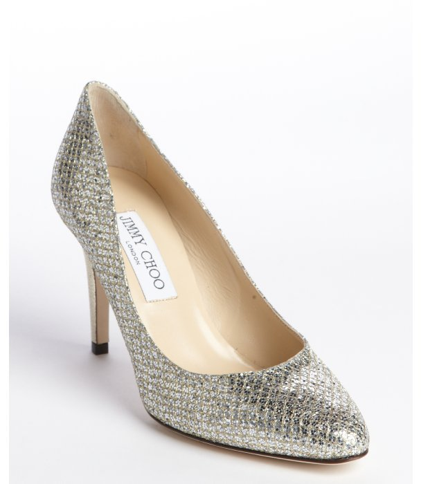Jimmy Choo silver and gold snake embossed glitter fabric pumps