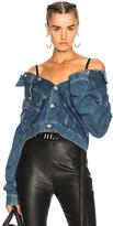 Unravel Cropped Reversible Denim Jacket in Blue.