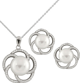 Splendid Pearls Rhodium Plated Silver 9-12Mm Freshwater Pearl Necklace & Earrings Set