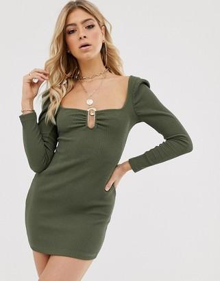 ASOS DESIGN long sleeve textured gold bar mini dress