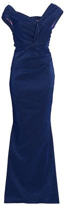 Talbot Runhof Bobina Stretch Wrapped Glitter Gown