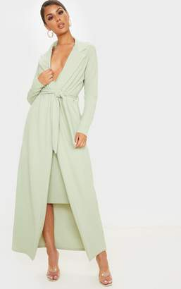 PrettyLittleThing Sage Green Maxi Duster