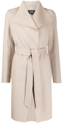 Mackage belted wrap-over Laila wool coat