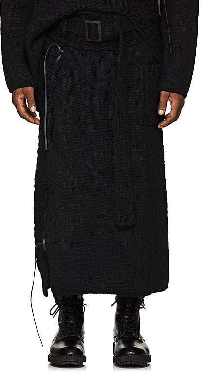 Yohji Yamamoto Men's Lace-Up Mixed-Knit Belted Skirt