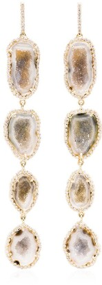 Kimberly 18kt yellow gold and diamond Geode drop earrings