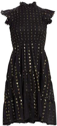 Sea Laura Metallic Fil Coupe Smocked Dress