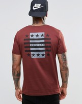Asos T-Shirt With Flag Back Print In Brown