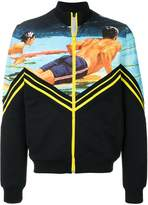 No.21 surfer print zip-up sweatshirt