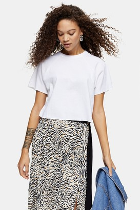 Topshop Womens Petite White Raglan Crop T-Shirt - White