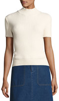 A.P.C. Mina Ribbed Short-Sleeve Sweater, White