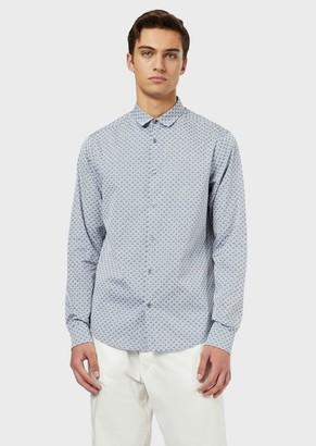 Emporio Armani Cotton Shirt With All-Over Jacquard Logo