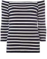Navy And Ivory Stripe Bardot Top