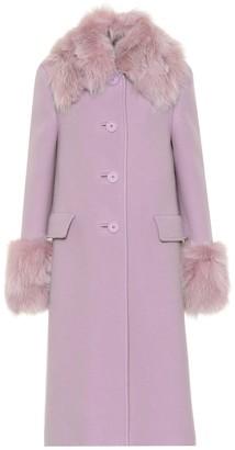 Miu Miu Fur-trimmed wool and angora coat