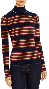 Tory Burch Striped Merino Wool Turtleneck
